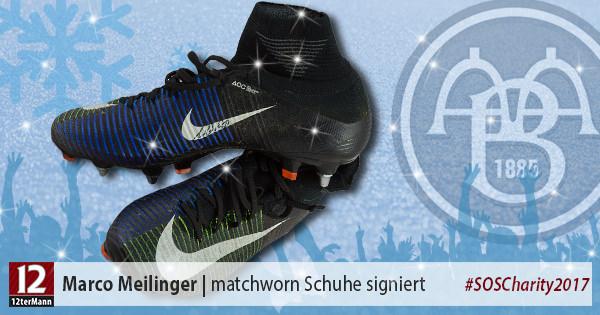 Signierte matchworn Schuhe von Marco Meilinger (Aalborg BK)
