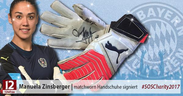 Signierte matchworn Torfrauhandschuhe von Manuela Zinsberger (FC Bayern München)