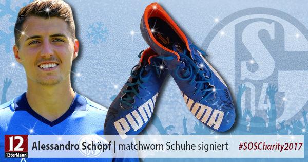 Signierte matchworn Fußballschuhe vonAlessandro Schöpf(FC Schalke 04)